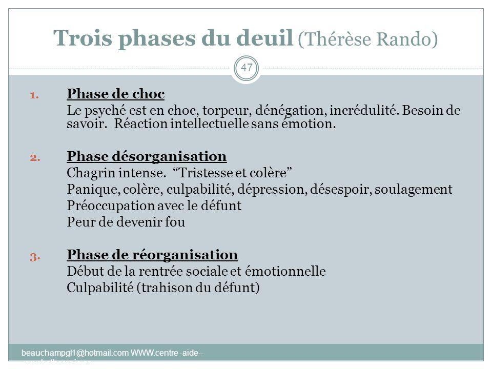 Trois phases du deuil (Thérèse Rando)