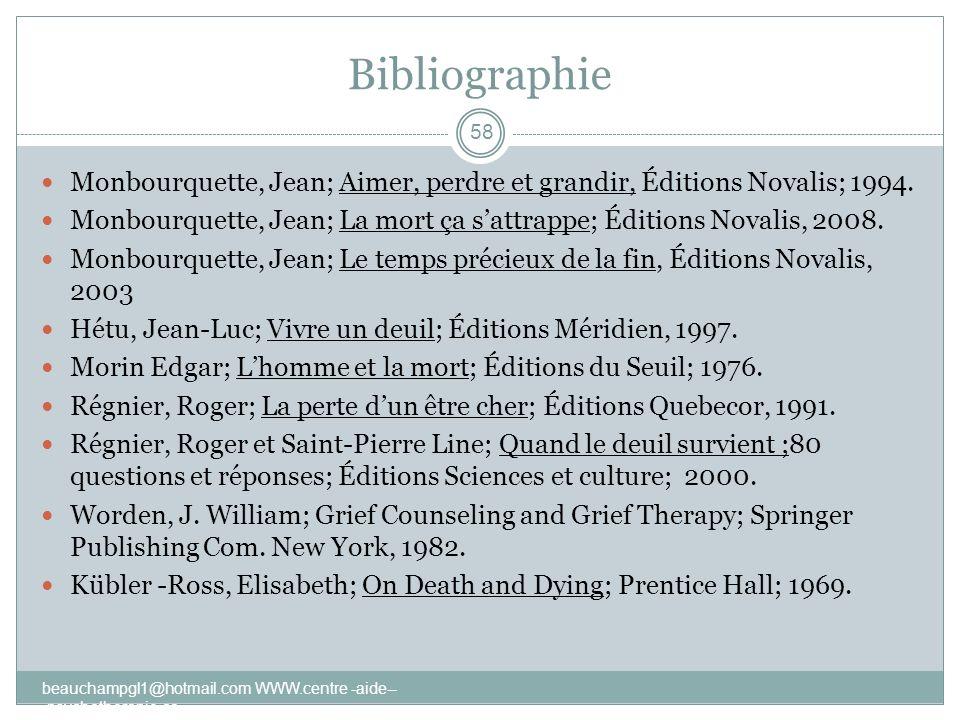 Bibliographie Monbourquette, Jean; Aimer, perdre et grandir, Éditions Novalis; 1994.