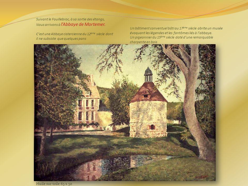 Suivant le Fouillebroc, à sa sortie des étangs, Nous arrivons à l'Abbaye de Mortemer. C'est une Abbaye cistercienne du 12ème siècle dont il ne subsiste que quelques pans Un bâtiment conventuel bâti au 17ème siècle abrite un musée évoquant les légendes et les fantômes liés à l'abbaye. Un pigeonnier du 15ème siècle doté d'une remarquable charpente en bois