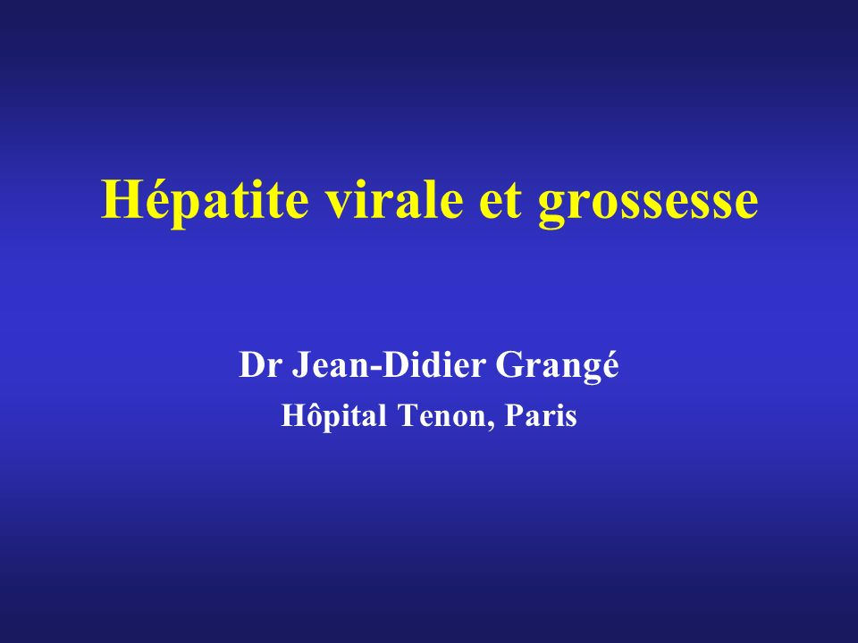 Hépatite virale et grossesse