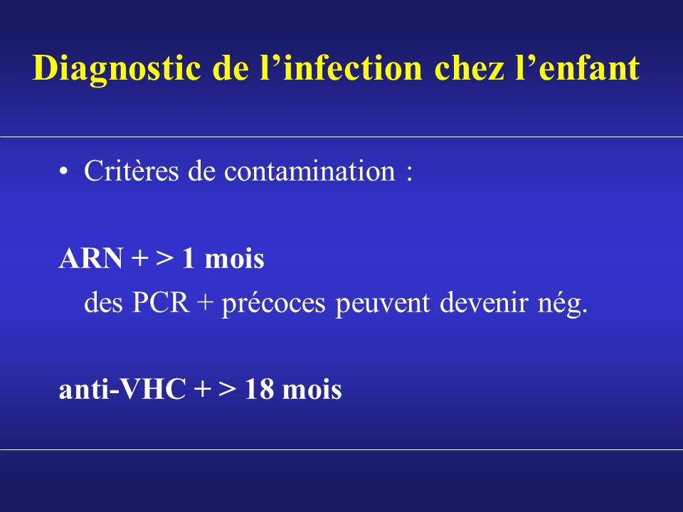 Diagnostic de l'infection chez l'enfant