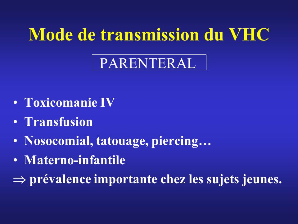 Mode de transmission du VHC