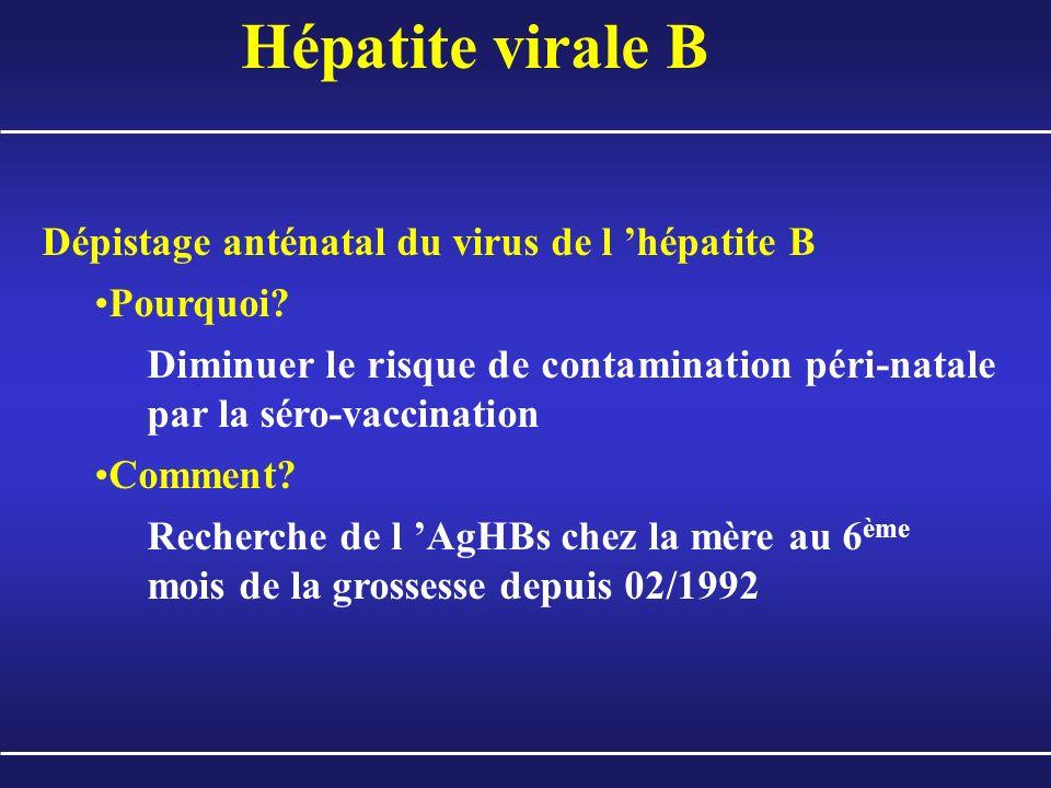 Hépatite virale B Dépistage anténatal du virus de l 'hépatite B