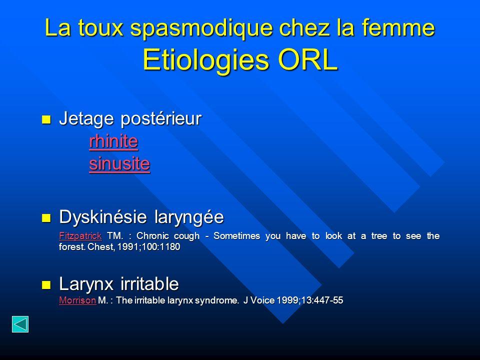 La toux spasmodique chez la femme Etiologies ORL