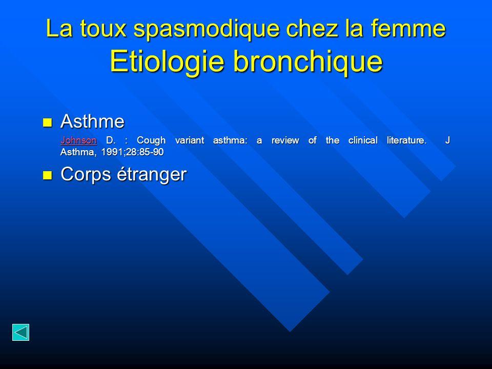 La toux spasmodique chez la femme Etiologie bronchique