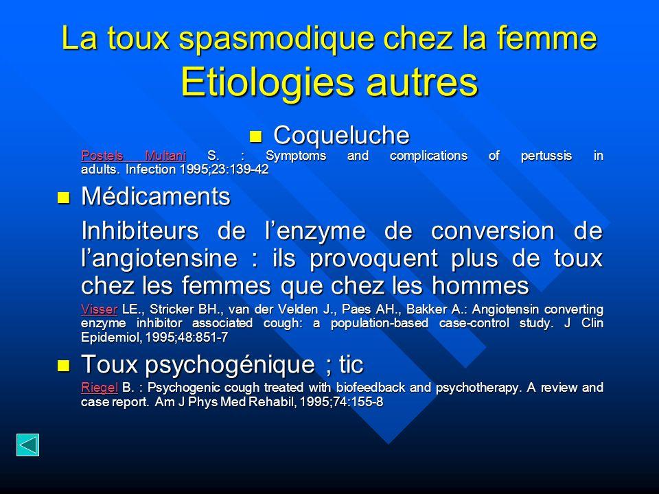 La toux spasmodique chez la femme Etiologies autres