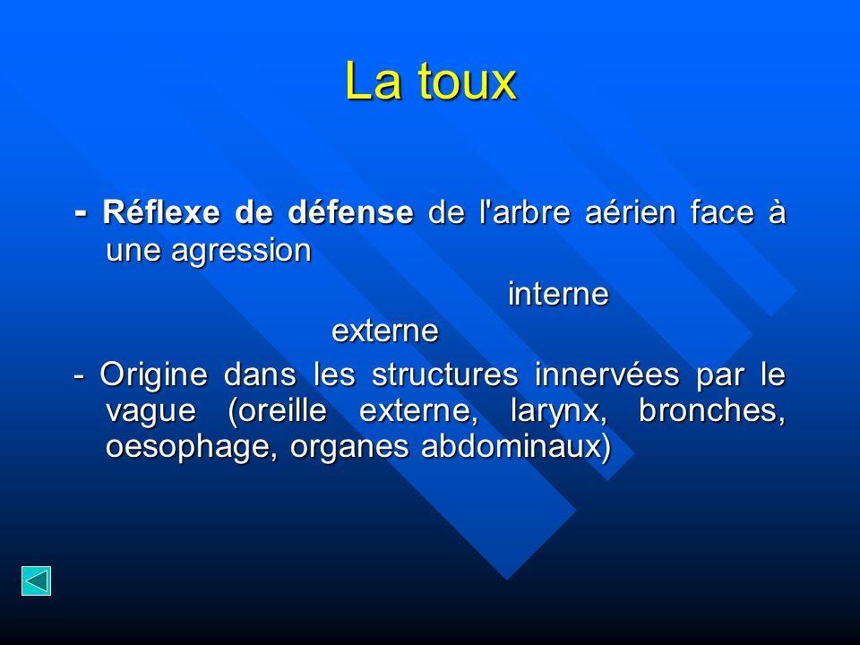 La toux - Réflexe de défense de l arbre aérien face à une agression