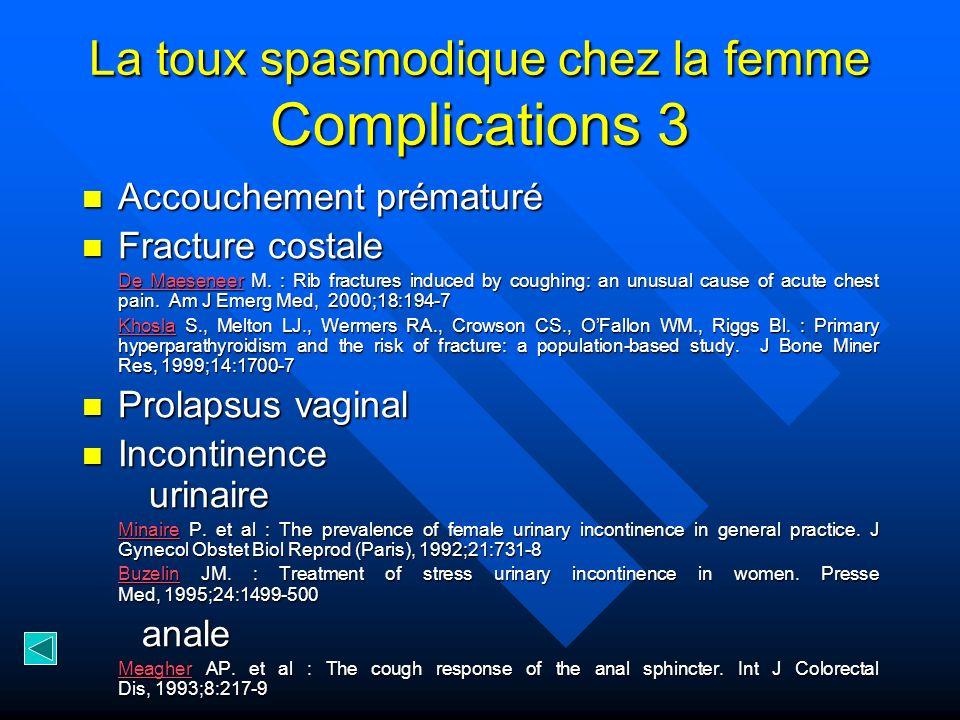La toux spasmodique chez la femme Complications 3
