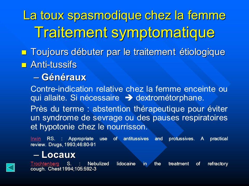 La toux spasmodique chez la femme Traitement symptomatique