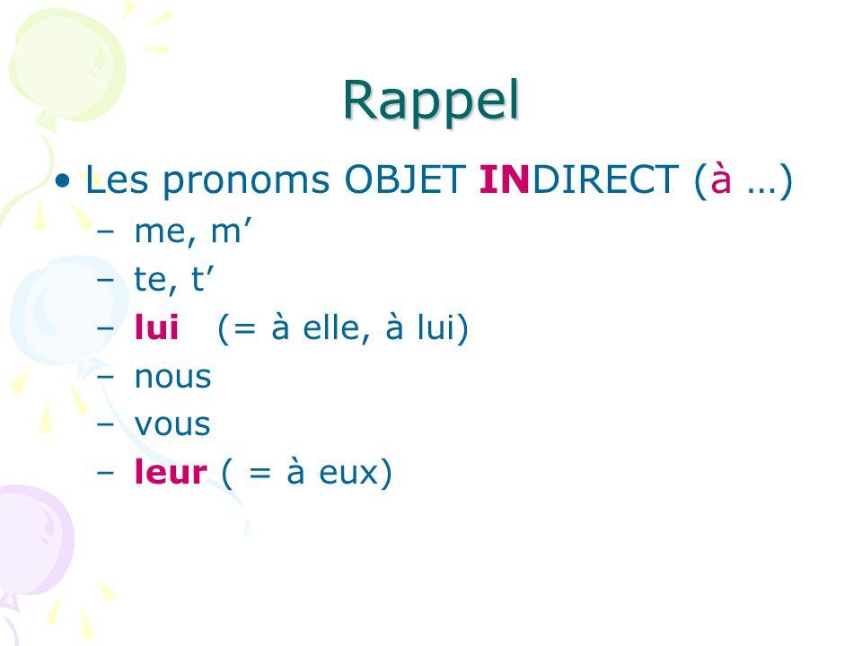 Rappel Les pronoms OBJET INDIRECT (à …) me, m' te, t'