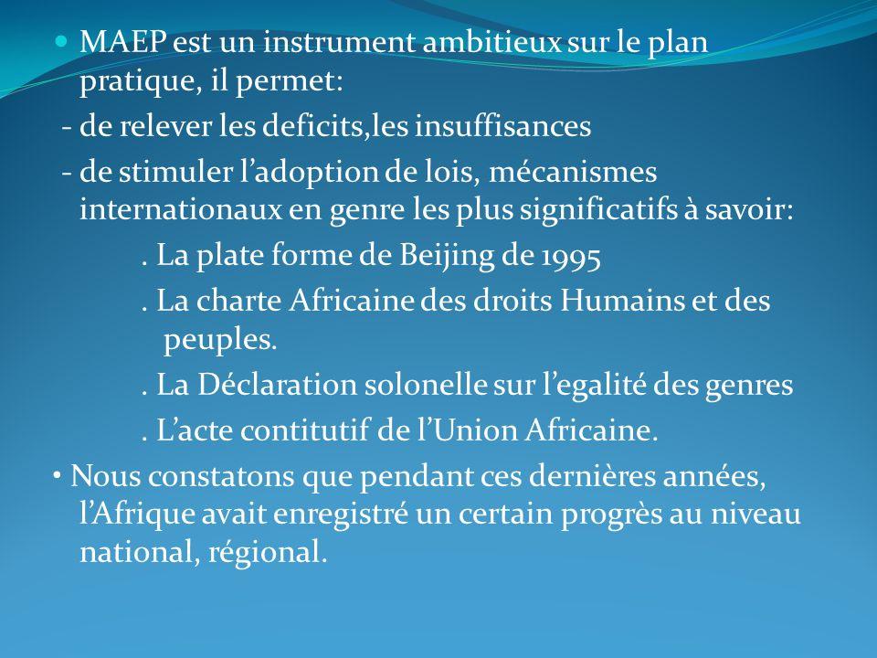 MAEP est un instrument ambitieux sur le plan pratique, il permet: