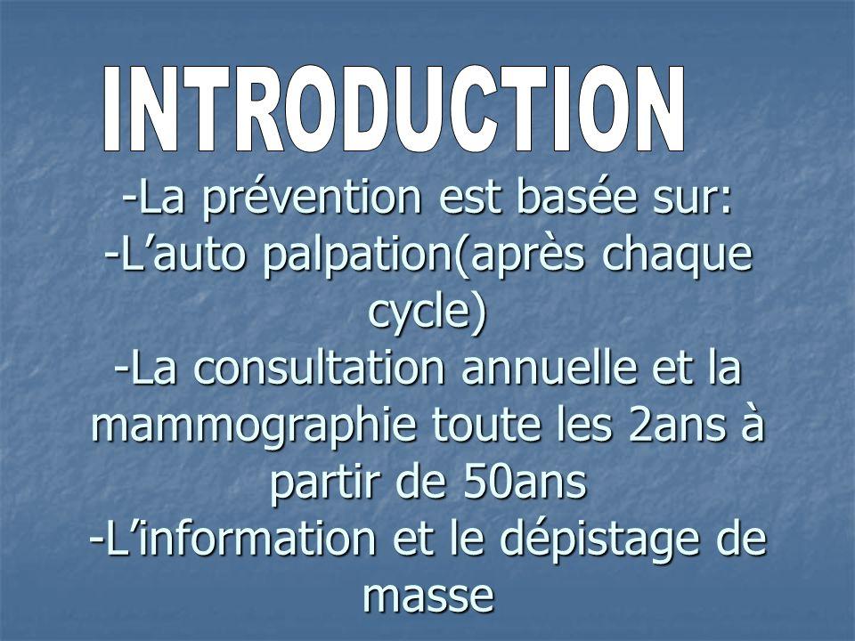 -La prévention est basée sur: -L'auto palpation(après chaque cycle) -La consultation annuelle et la mammographie toute les 2ans à partir de 50ans -L'information et le dépistage de masse