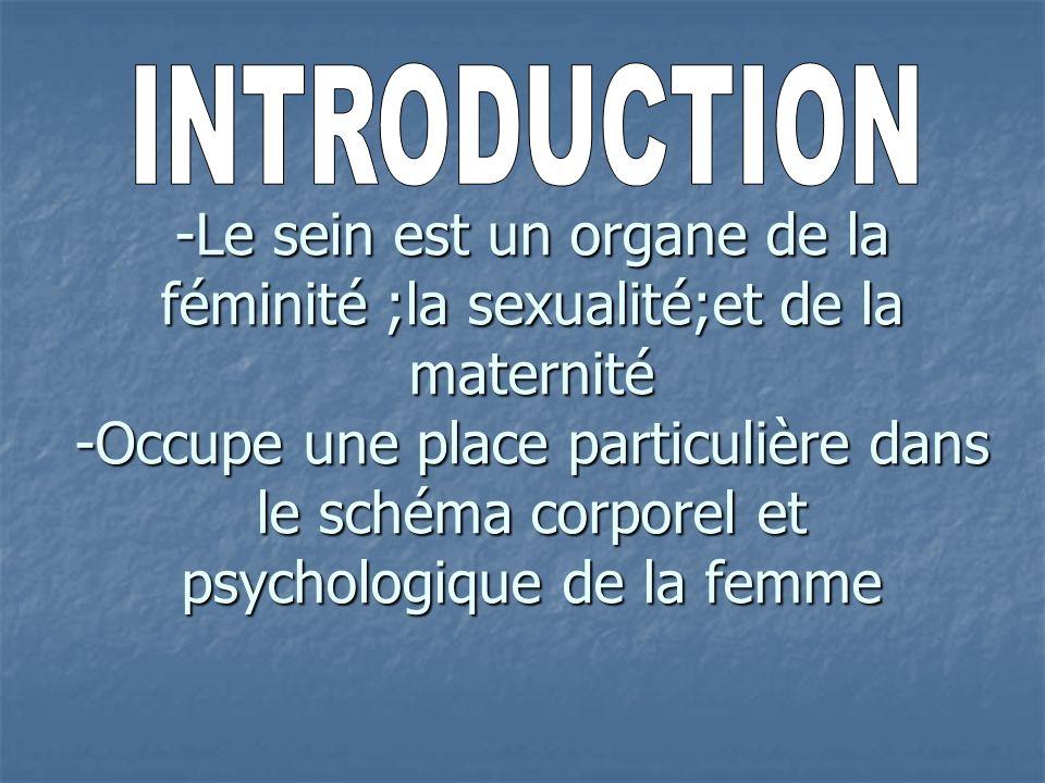 -Le sein est un organe de la féminité ;la sexualité;et de la maternité -Occupe une place particulière dans le schéma corporel et psychologique de la femme