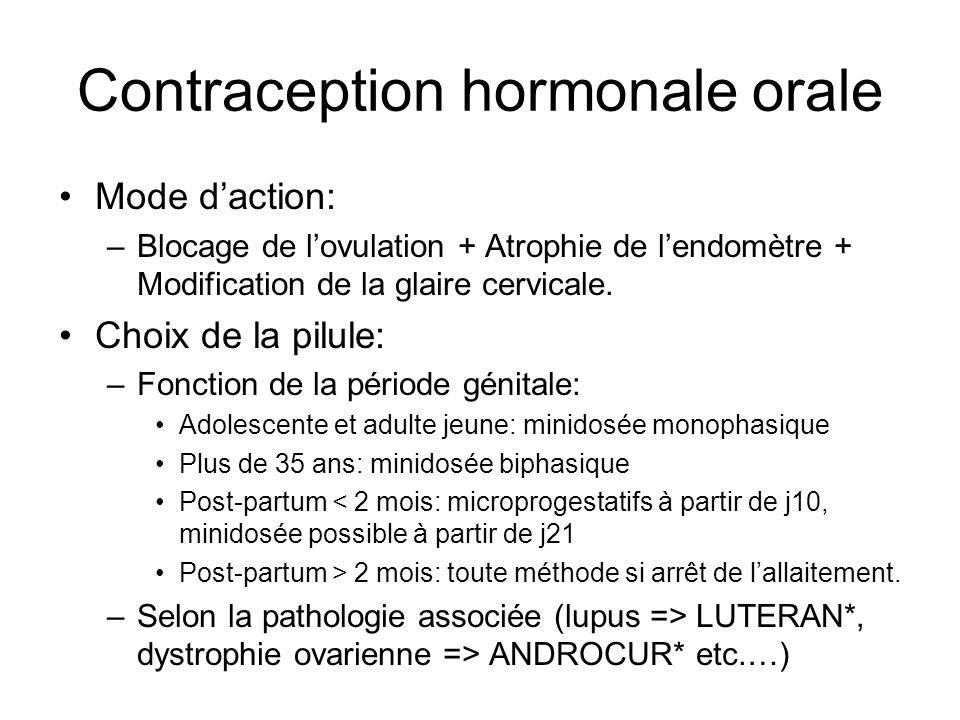 Contraception hormonale orale