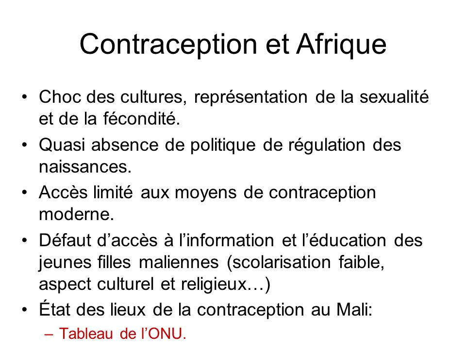 Contraception et Afrique