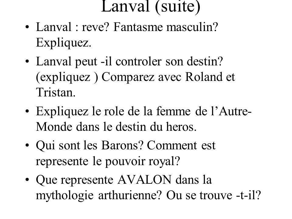 Lanval (suite) Lanval : reve Fantasme masculin Expliquez.