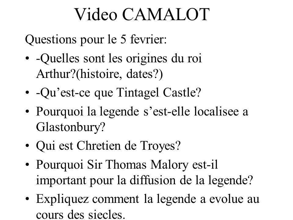 Video CAMALOT Questions pour le 5 fevrier: