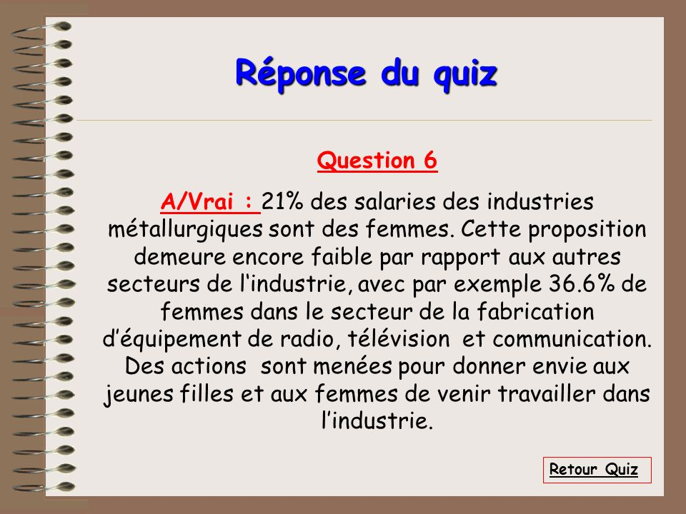 Réponse du quiz Question 6