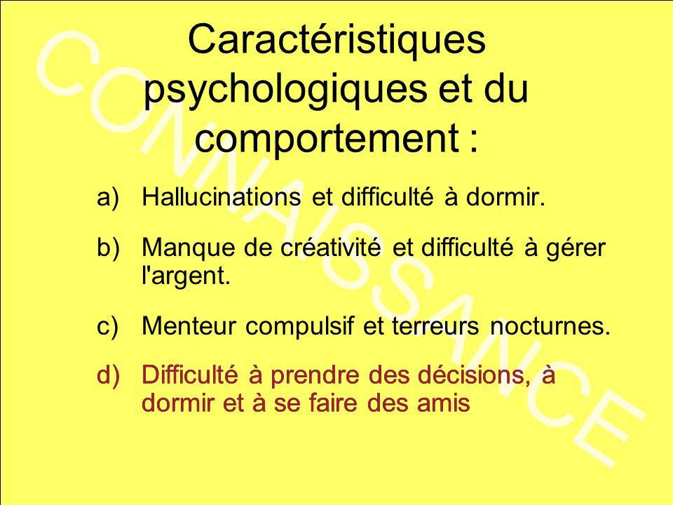 Caractéristiques psychologiques et du comportement :