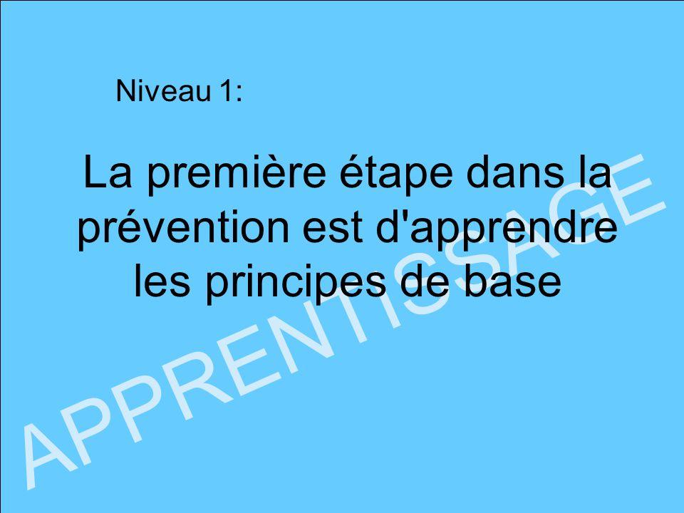 Niveau 1: La première étape dans la prévention est d apprendre les principes de base APPRENTISSAGE