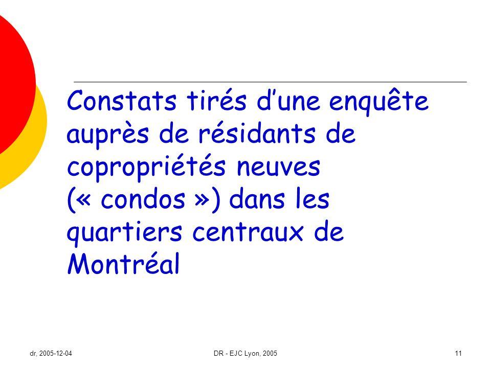 Constats tirés d'une enquête auprès de résidants de copropriétés neuves (« condos ») dans les quartiers centraux de Montréal