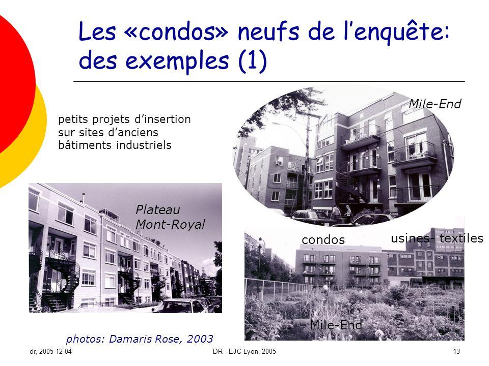 Les «condos» neufs de l'enquête: des exemples (1)