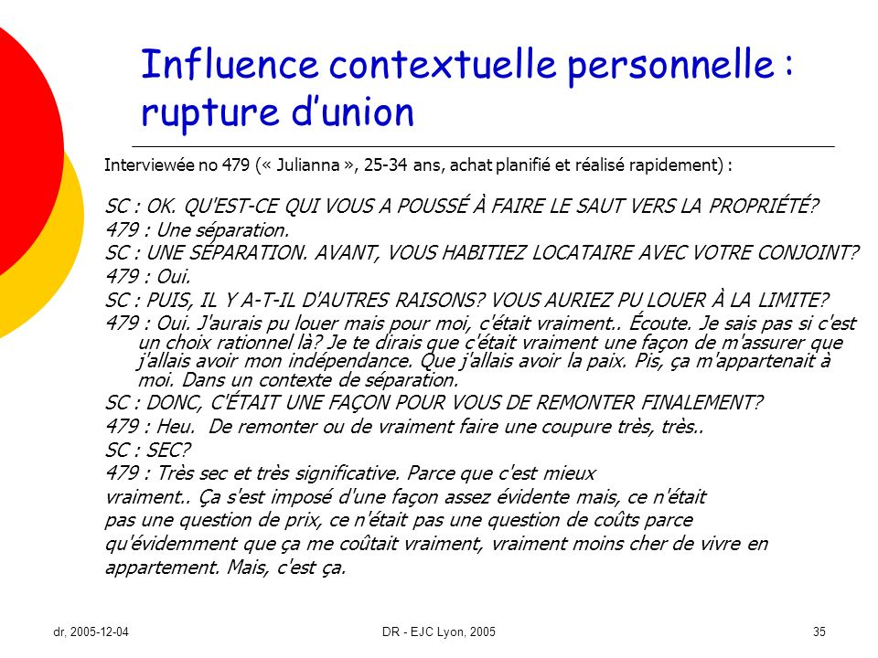 Influence contextuelle personnelle : rupture d'union