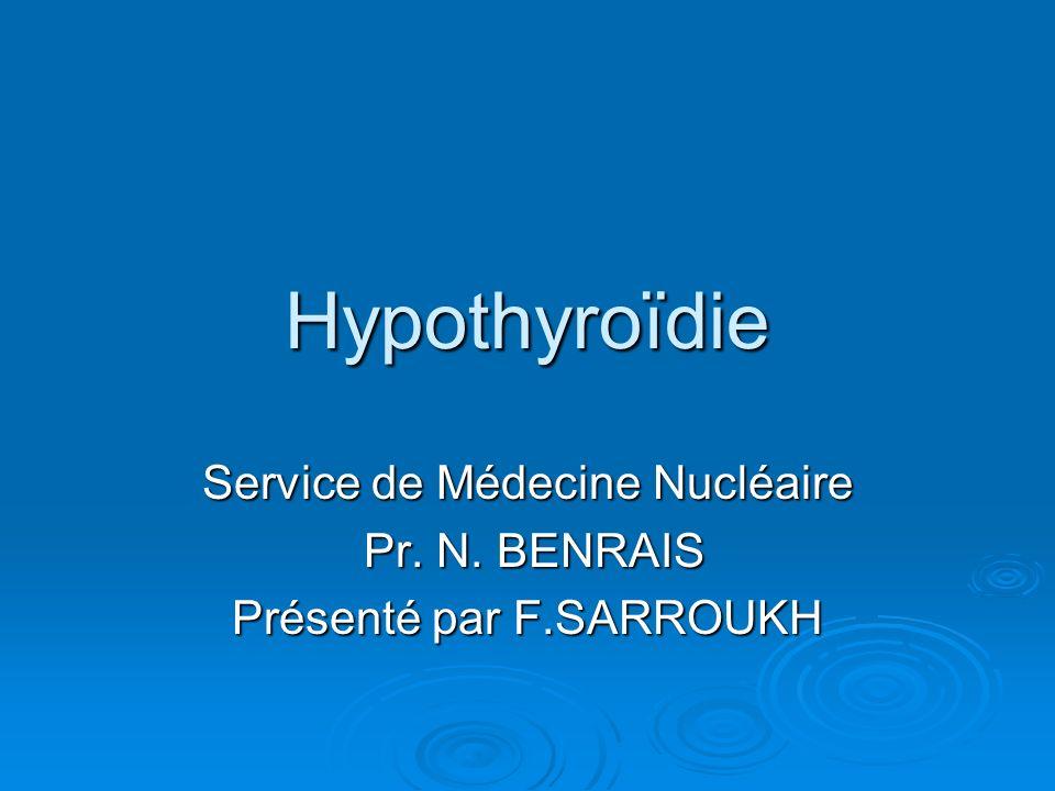 Service de Médecine Nucléaire Pr. N. BENRAIS Présenté par F.SARROUKH