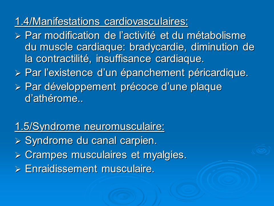 1.4/Manifestations cardiovasculaires: