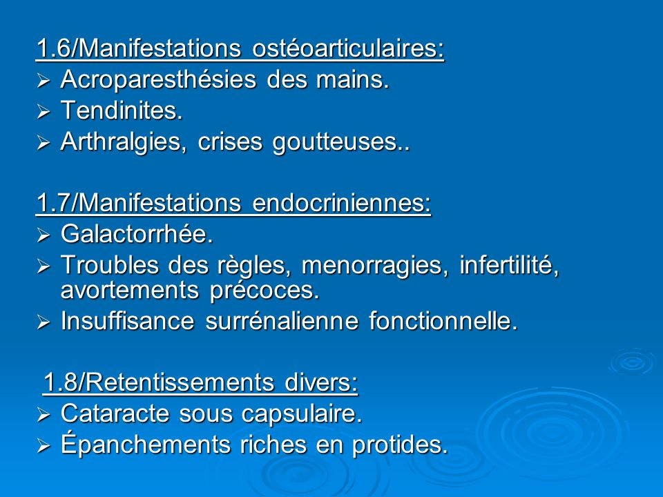 1.6/Manifestations ostéoarticulaires: