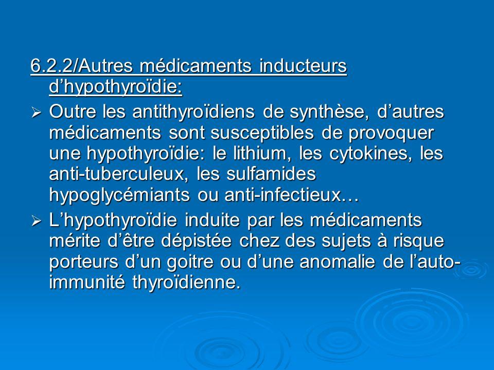 6.2.2/Autres médicaments inducteurs d'hypothyroïdie: