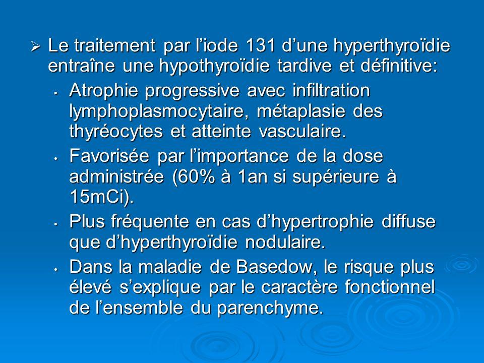 Le traitement par l'iode 131 d'une hyperthyroïdie entraîne une hypothyroïdie tardive et définitive: