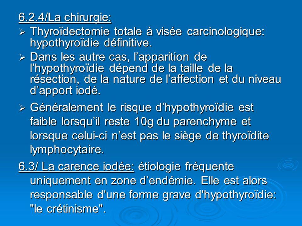 6.2.4/La chirurgie: Thyroïdectomie totale à visée carcinologique: hypothyroïdie définitive.