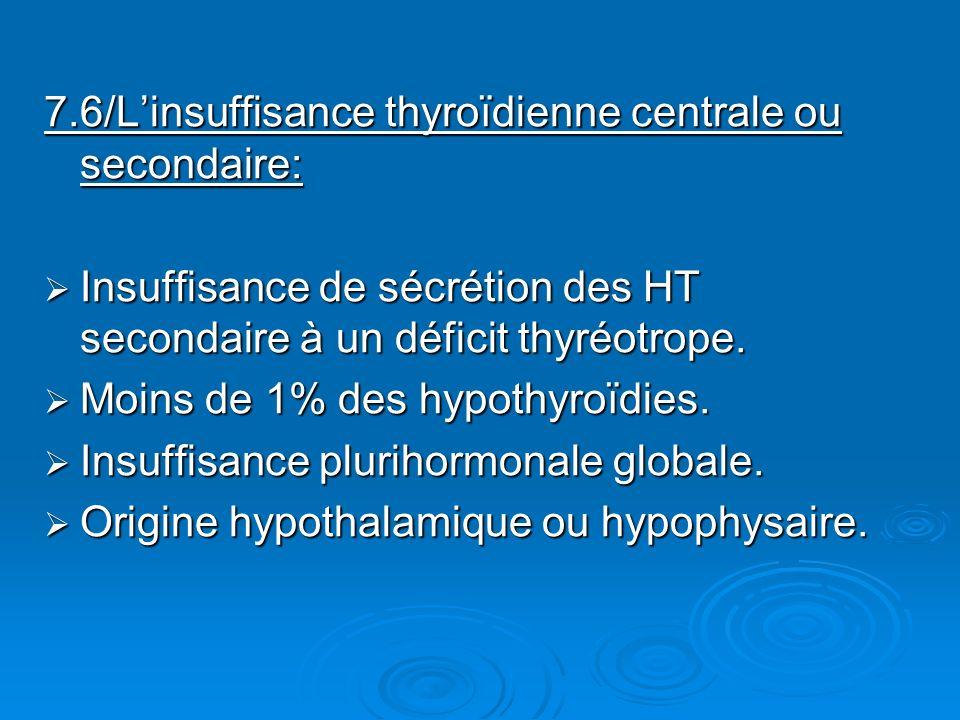 7.6/L'insuffisance thyroïdienne centrale ou secondaire: