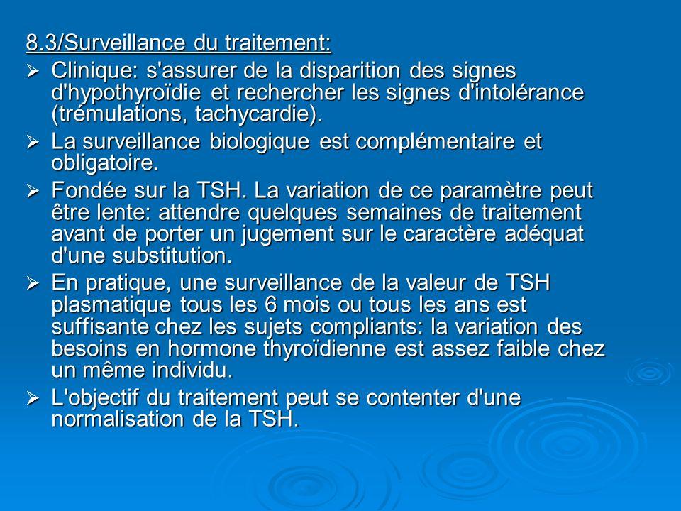 8.3/Surveillance du traitement: