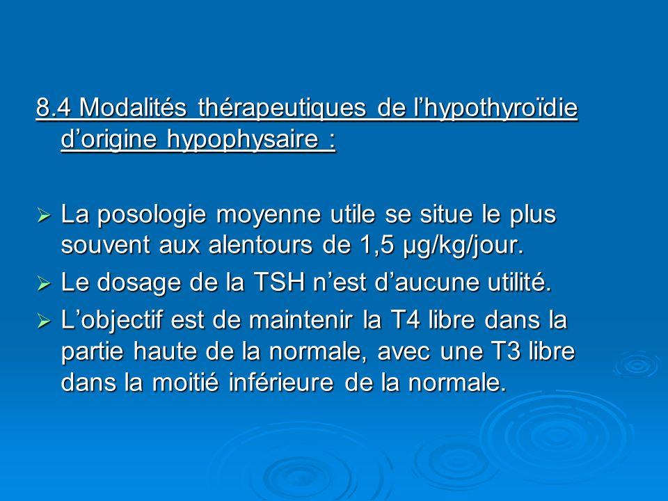 8.4 Modalités thérapeutiques de l'hypothyroïdie d'origine hypophysaire :