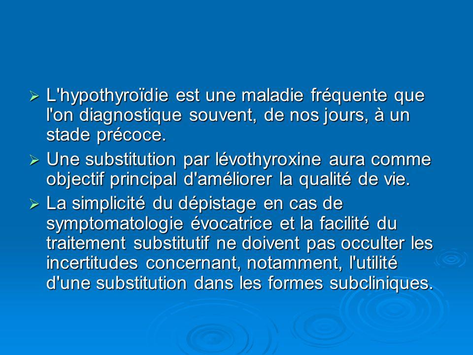 L hypothyroïdie est une maladie fréquente que l on diagnostique souvent, de nos jours, à un stade précoce.