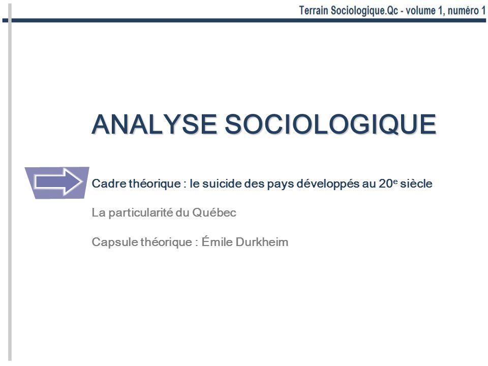 ANALYSE SOCIOLOGIQUE Cadre théorique : le suicide des pays développés au 20e siècle. La particularité du Québec.
