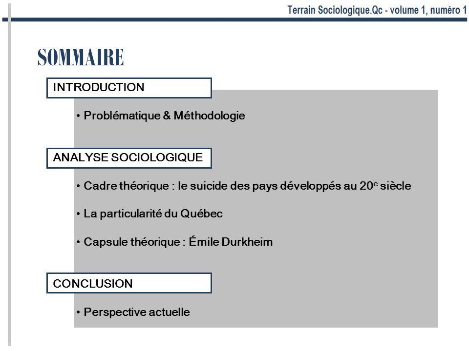 SOMMAIRE INTRODUCTION Problématique & Méthodologie