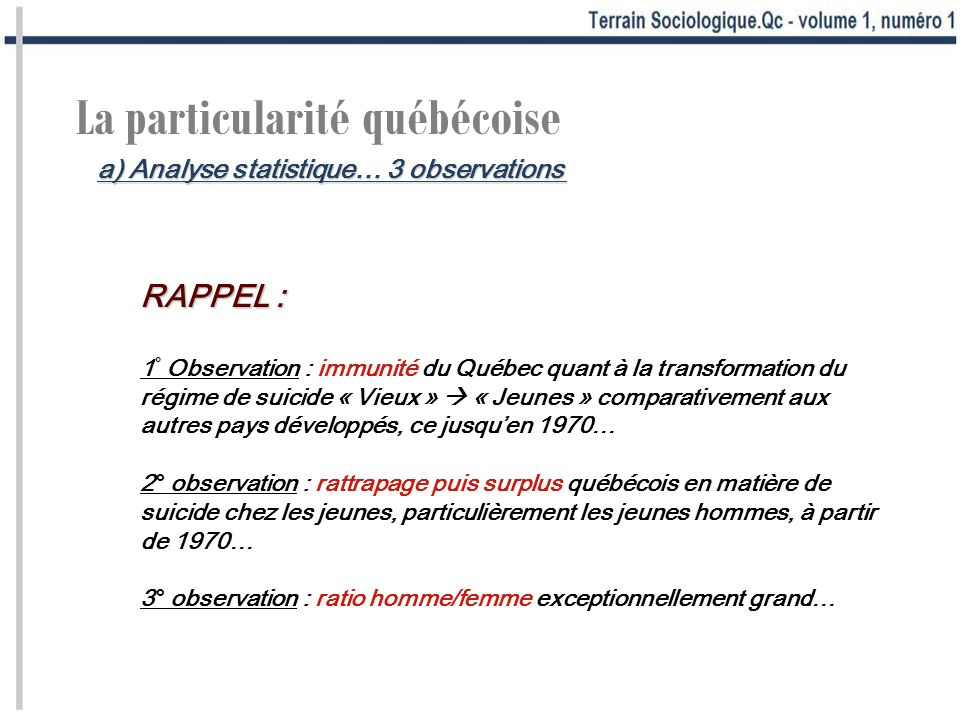 a) Analyse statistique… 3 observations