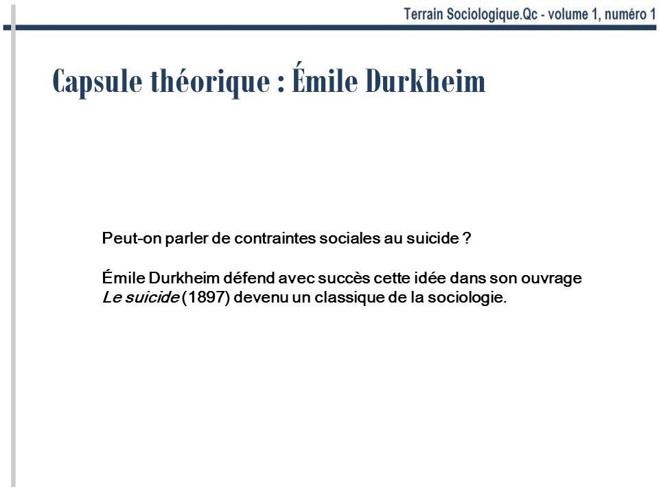 Capsule théorique : Émile Durkheim