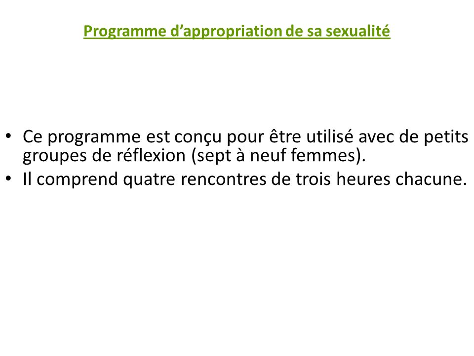 Programme d'appropriation de sa sexualité