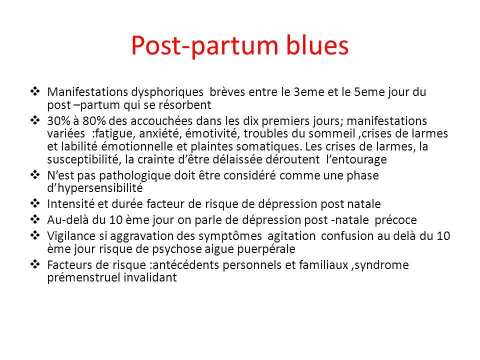 Post-partum bluesManifestations dysphoriques brèves entre le 3eme et le 5eme jour du post –partum qui se résorbent.