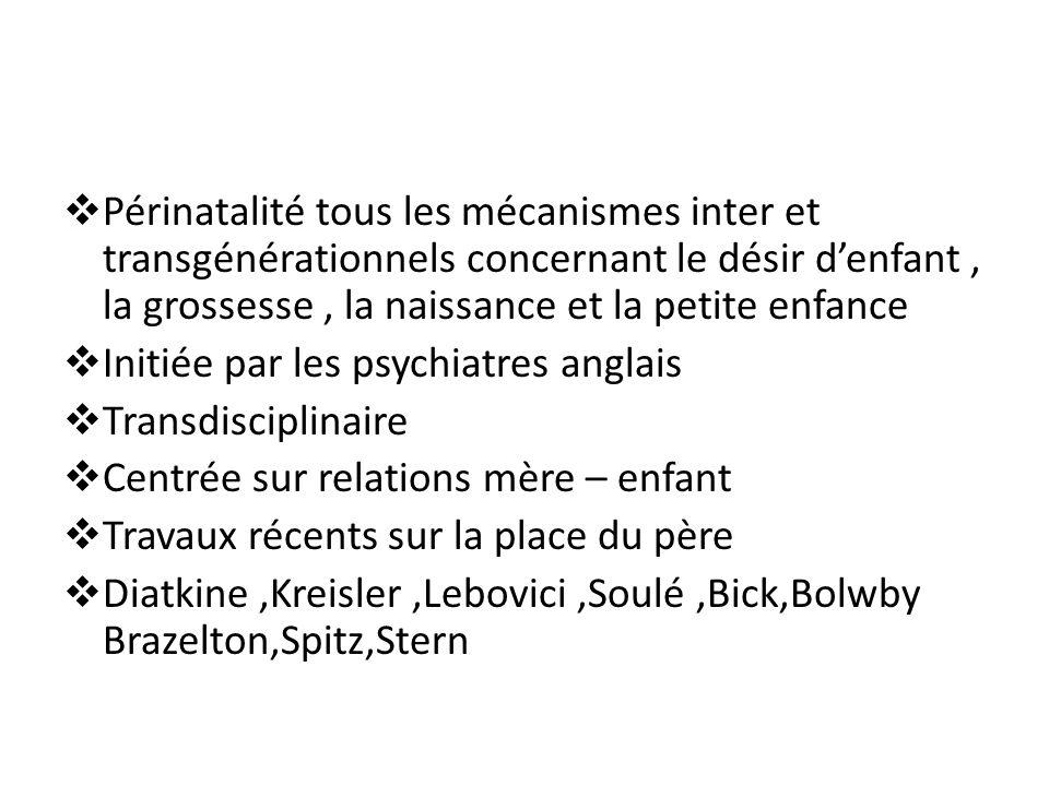 Périnatalité tous les mécanismes inter et transgénérationnels concernant le désir d'enfant , la grossesse , la naissance et la petite enfance