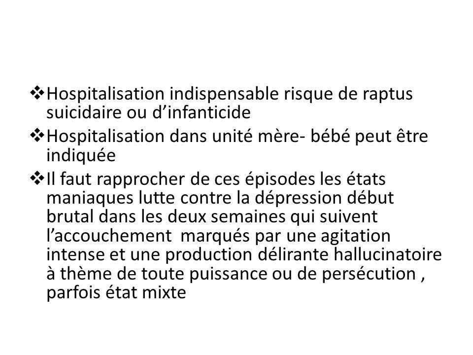 Hospitalisation indispensable risque de raptus suicidaire ou d'infanticide