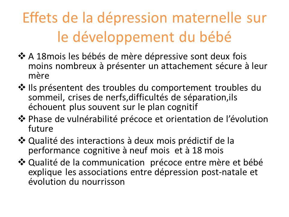 Effets de la dépression maternelle sur le développement du bébé
