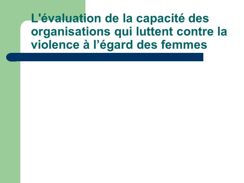 L évaluation de la capacité des organisations qui luttent contre la violence à l'égard des femmes