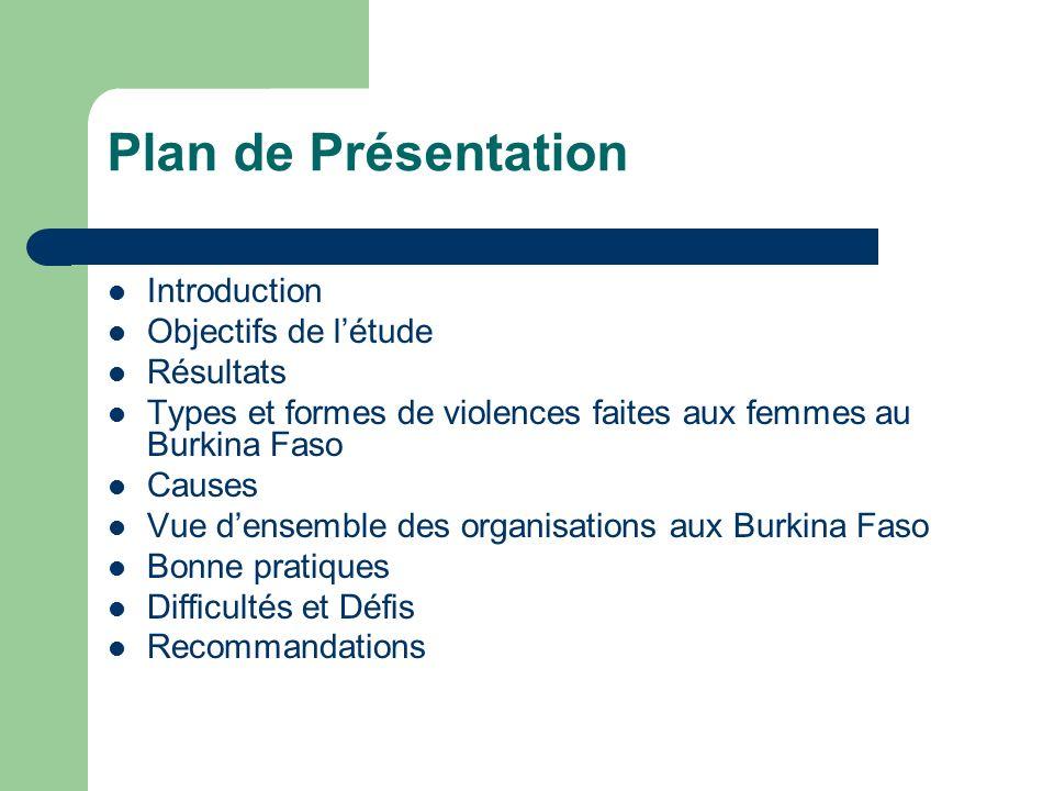 Plan de Présentation Introduction Objectifs de l'étude Résultats