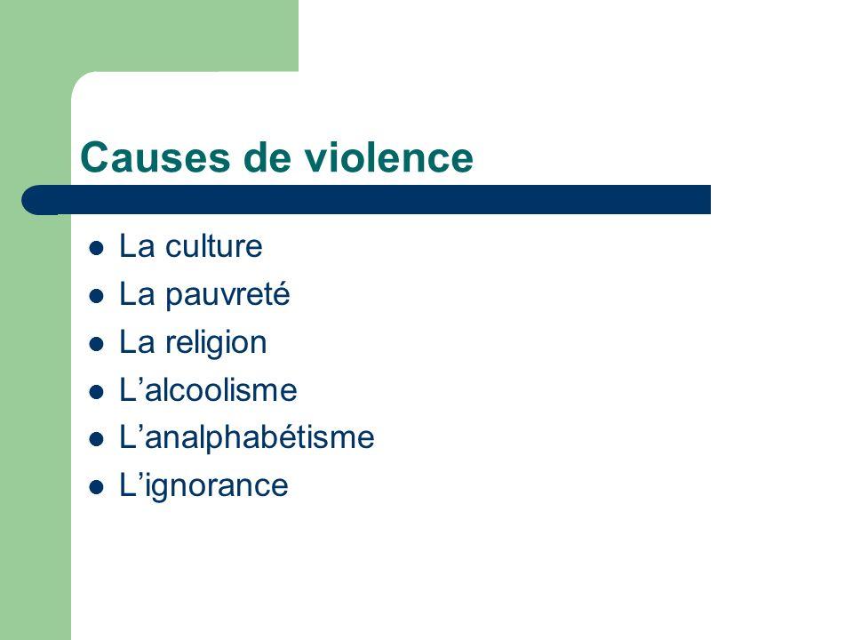 Causes de violence La culture La pauvreté La religion L'alcoolisme