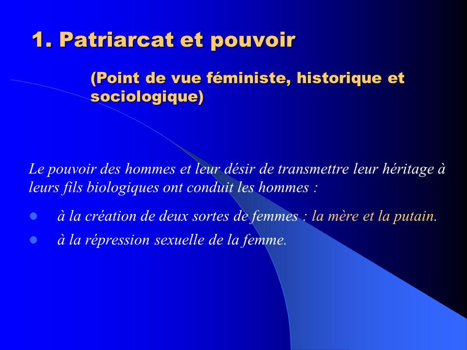 1. Patriarcat et pouvoir (Point de vue féministe, historique et sociologique)